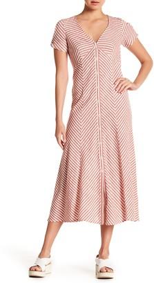 Max Studio Striped Button Front Midi Dress
