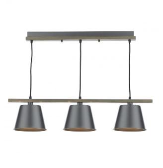 Dar Lighting - Raw Wood Arken 3 Pendant Light - Wood/Grey