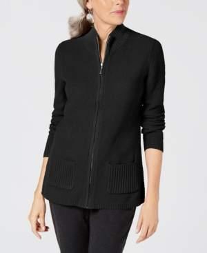 Karen Scott Petite Zip-Front Sweater, Created for Macy's
