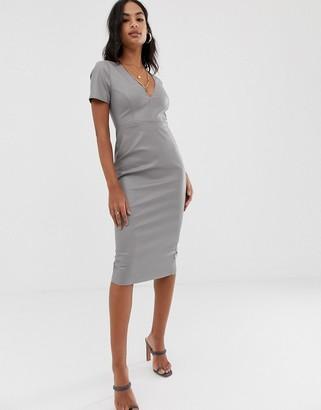 Asos Design DESIGN faux leather midi dress-Grey