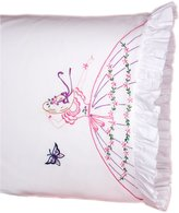 Fairway Needlecraft 82525 Vintage Ruffled Edge Pillowcases, Butterfly Lady Design, Standard Size, White