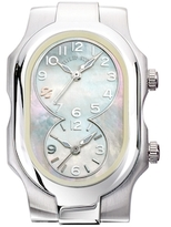 Philip Stein Teslar Stainless Steel & Mother of Pearl Dual Time Zone Watch Case, 42mm x 27mm