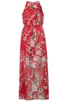 Quiz Red Chiffon High Neck Floral Maxi Dress