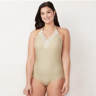 Lauren Conrad Plus Size Lace-Trim One-Piece Swimsuit