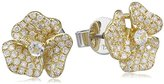 As 29 AS29 Women's 18ct Yellow Gold Round White Sapphire & Round White Diamonds Mini Pave Flower Earrings