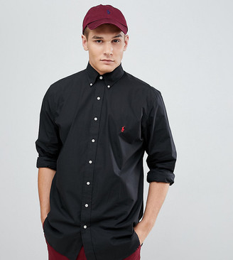 Polo Ralph Lauren Big & Tall poplin shirt player logo button down in black