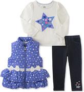 Kids Headquarters Blue & White Stars Puffer Vest Set - Infant, Toddler & Girls