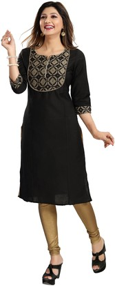"Unifiedclothes Women Fashion Casual Cotton Silk Indian Kurti Tunic Kurta Top Shirt Dress MM99 (UK 10 Bust Size 34"" Dress Size 38"" Small) Black"