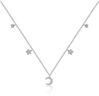 Genevieve Collection 18K White Gold Moon & Star Shape Diamond Necklace Choker