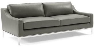 "Orren Ellis Delonge 83.5"" Wide Leather Match Recessed Arm Sofa Upholstery Color: Gray Leather Match"