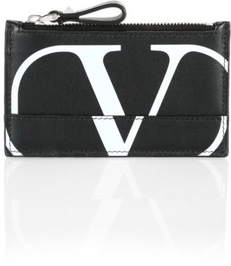 Valentino V Logo Leather Cardholder