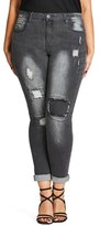 City Chic Rip Patch Skinny Jeans (Charcoal) (Plus Size)