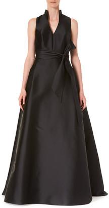 Carolina Herrera Satin V-Neck Gown