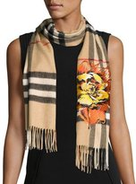 Burberry Floral Cashmere Check Scarf, Brown/Orange