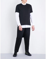 Comme Des Garcons Shirt Stepped-hem Cotton-jersey T-shirt