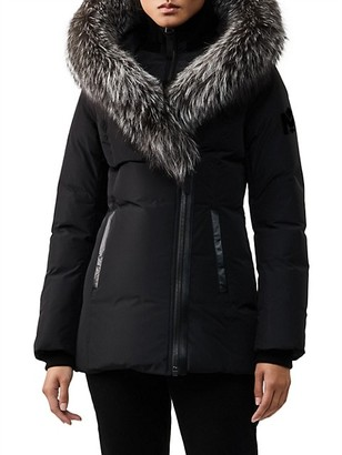 Mackage Adali Silver Fox Fur-Trim Coat