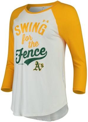 Under Armour Women's White/Gold Oakland Athletics Baseball 3/4-Sleeve Performance T-Shirt