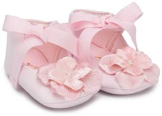 MonnaLisa Floral-Applique Ballerinas