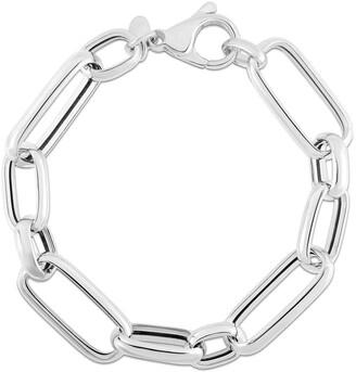 Sphera Milano 14K White Gold Plated Sterling Silver Bold Chain Link Bracelet