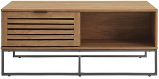 Union Rustic Nena Sled Coffee Table with Storage Color: English Oak