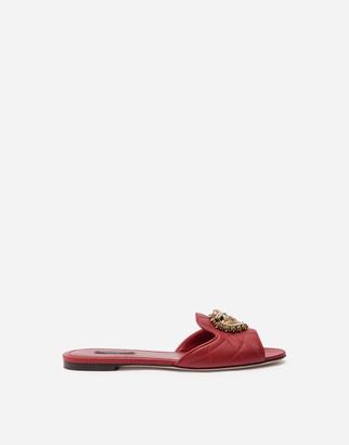 Dolce & Gabbana Matelasse Nappa Leather Devotion Sliders