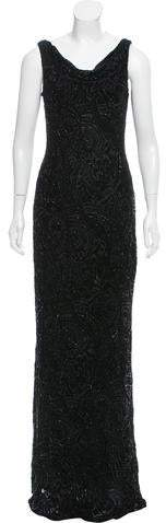 Carmen Marc Valvo Embellished Velvet Devoré Dress