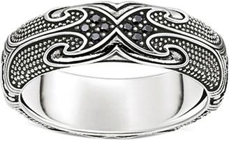 Thomas Sabo Rebel at Heart Maori sterling silver ring, Size: 52mm
