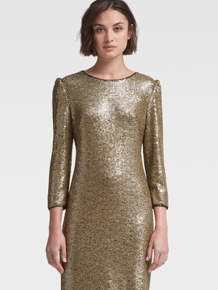 DKNY Women's Sequined Dress With Shoulder Detail - Gold - Size 12