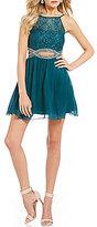 Xtraordinary Lace Bodice Beaded Infinity Waist Fit-And-Flare Dress