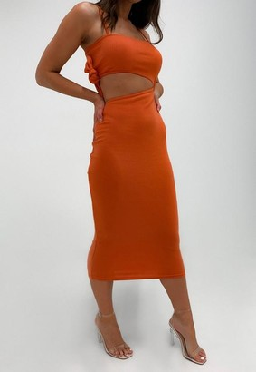 Missguided Rust Rib Cut Out Midi Dress