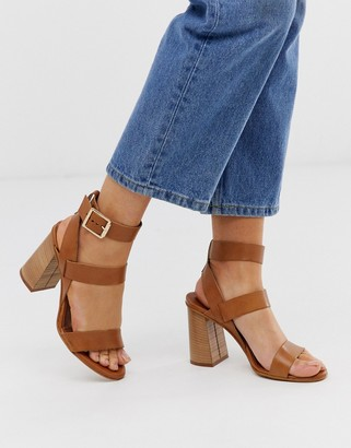 Office Hanny tan leather block heeled sandals-Beige