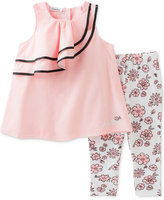 Calvin Klein 2-Pc. Ruffle Tunic & Capri Leggings Set, Baby Girls (0-24 Months)