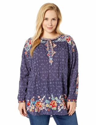Johnny Was Women's Size Plus Tie Neck Boho Blouse with Embroidery