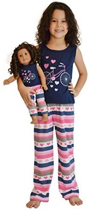 Pink Butterfly Closet Girl & Doll Matching Tank & Sweatpants Fit American Girl & Other 18 Inch Dolls - Size 12