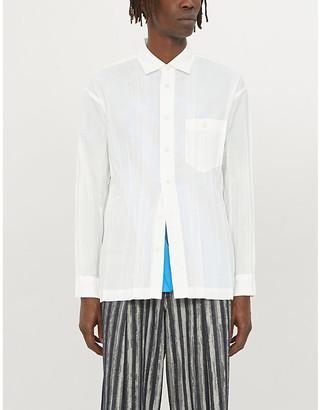 Issey Miyake Wrinkle crinkle-textured regular-fit woven shirt
