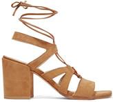 Stuart Weitzman Tiegirlbingo Suede Sandals - Camel