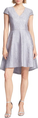 Halston Metallic Jacquard High/Low Cocktail Dress