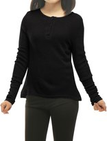 uxcell® Women Round Neck Long Sleeves Knitted Henley Shirt S