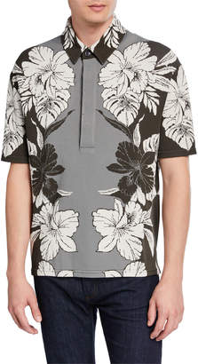 Valentino Men's Tropical Floral Knit Polo Shirt
