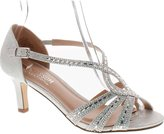 De Blossom Collection Valerie-3 Women's Low Heel Cross Rhinestone Strappy Wedding Prom Dress Sandal Shoes Silver 6