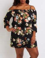 Charlotte Russe Plus Size Floral Cold Shoulder Romper