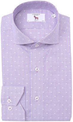 Lorenzo Uomo Dot Texture Long Sleeve Trim Fit Shirt