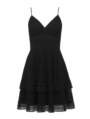 Forever New Isabel Tiered Lace Mini Dress - Black - 10