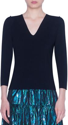 Akris Punto Ruffled Puffed Bracelet Sleeve Sweater