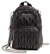 Miu Miu Micro Matelasse Leather Backpack - Black