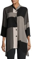 Caroline Rose Blocks Georgette Button-Front Blouse, Multi Black