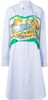 Junya Watanabe printed bustier striped shirt dress
