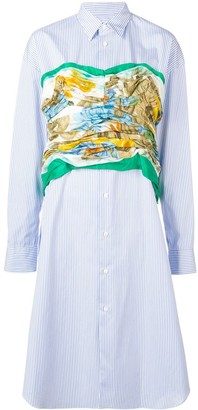 Junya Watanabe printed bustier striped shirt dress