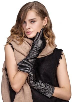 YISEVEN Women Touchscreen Leather Gloves Mid-length Long Wrinkled Sheepskin for Ladies Dress Fancy Sexy Light Stretch Warm Winter Driving gift
