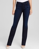 Bloomingdale's Jen 7 Sateen Slim Straight Leg Jeans in Blue Black